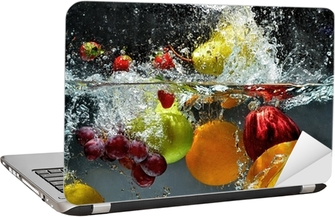 Fruit and vegetables splash into water Laptop Sticker