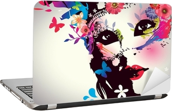Girl with mask/Vector illustration Laptop Sticker