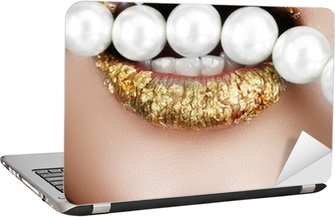 Gold leaf mouth with pearls Laptop Sticker