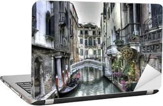Gondel, Palazzi und Bruecke, Venedig, Italien Laptop Sticker