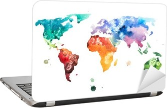 Hand drawn watercolor world map aquarelle illustration. Laptop Sticker