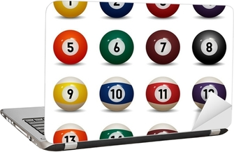Isolated colored pool balls. Numbers 1 to 15 and zero ball Laptop Sticker