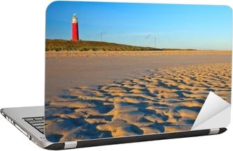Laptop Sticker Kust met zandduinen en vuurtoren bij zonsondergang