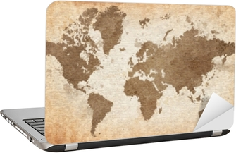 map of the world with a textured background Laptop Sticker