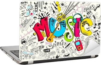 Music Doodle Laptop Sticker