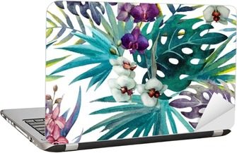 Orchid hibiscus leaves pattern, watercolor Laptop Sticker