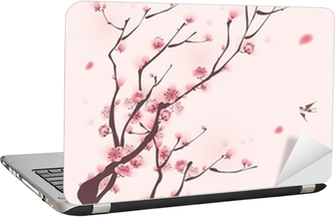 oriental style painting, cherry blossom in spring Laptop Sticker
