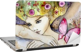 piękna dziewczyna z motylem Laptop Sticker