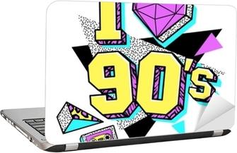 Laptop Sticker Poster uit de jaren 80-90 in de stijl van Memphis.