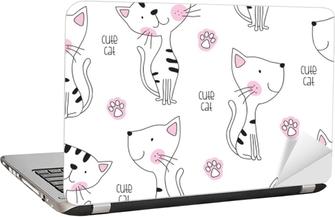 seamless cute cat pattern vector illustration Laptop Sticker
