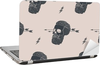 Seamless pattern background of vintage skull hipster with arrow. Graphic design for wrapping paper and fabric texture of shirt. Vector Illustration Laptop Sticker