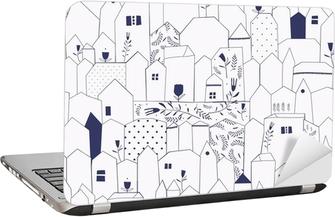 Seamless pattern. Figure cities in vintage style. Laptop Sticker