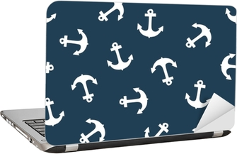 Seamless pattern with anchor. Texture for wallpaper, fills, web page background. Laptop Sticker