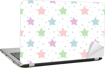 Seamless star pattern for kids holidays. Pastel colors baby shower vector background. Cute child drawing style star sky illustration. Laptop Sticker