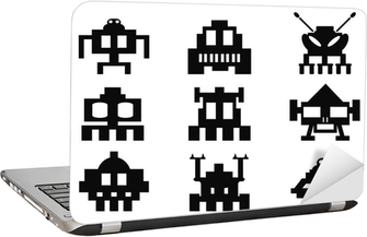 Laptop Sticker Space invaders icons set - pixel monsters