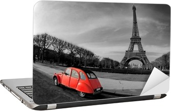 Tour Eiffel et voiture rouge- Paris Laptop Sticker