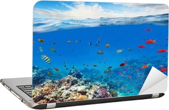 Underwater coral reef with horizon and water waves Laptop Sticker