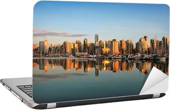 Laptop Sticker Vancouver skyline bij zonsondergang