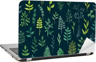 Vector green watercolor floral seamless pattern. Laptop Sticker