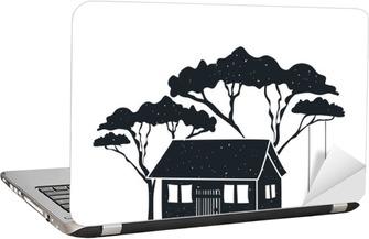 Schommel In Huis : Fotobehang vector hand getrokken stijl zwart wit poster met huis