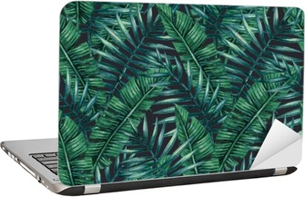 Watercolor tropical palm leaves seamless pattern. Vector illustration. Laptop Sticker