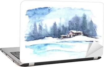 Watercolor winter pattern. Country landscape. The picture shows a house, spruce, pine, forest, snow and drifts. Laptop Sticker