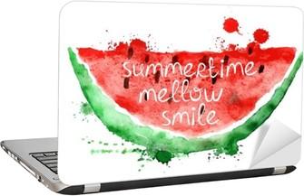 Laptop Sticker Waterverfillustratie met plak van watermeloen.
