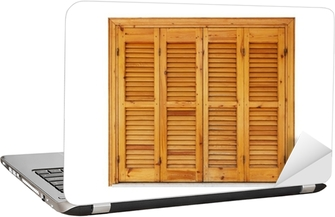 Wooden window with shutters closed isolated on white Laptop Sticker