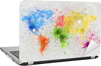 world map painting Laptop Sticker
