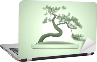 Laptopdekor Asiatiska bonsaiträd på grön