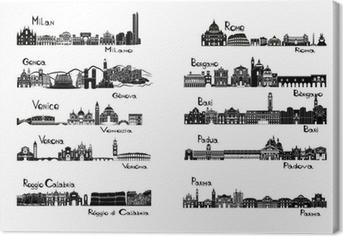 Leinwandbild 10 Städte in Italien - Silhouette signts
