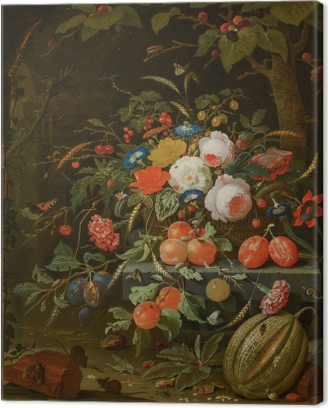 Leinwandbild Abraham Mignon - Flowers and Fruit - Reproduktion