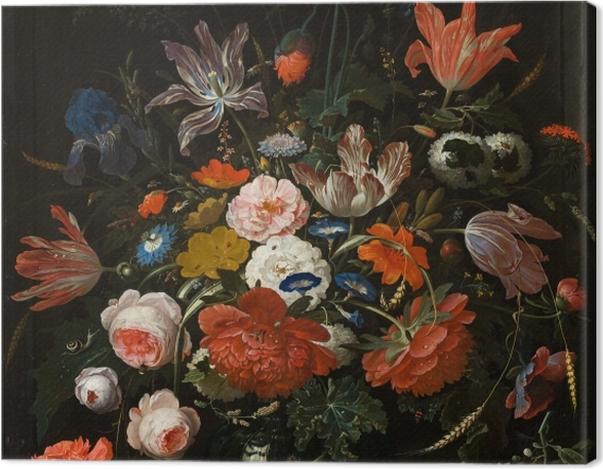 Leinwandbild Abraham Mignon - Flowers in a Glass Vase - Reproduktion