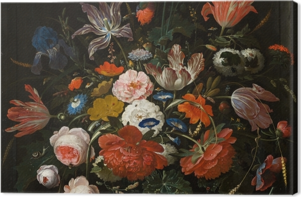 Leinwandbild Abraham Mignon - Flowers in a Glass Vase - Reproduktion