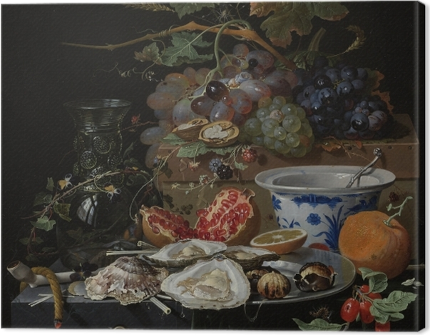 Leinwandbild Abraham Mignon - Still Life with Flowers, Oysters and a Porcelain Bow - Reproduktion