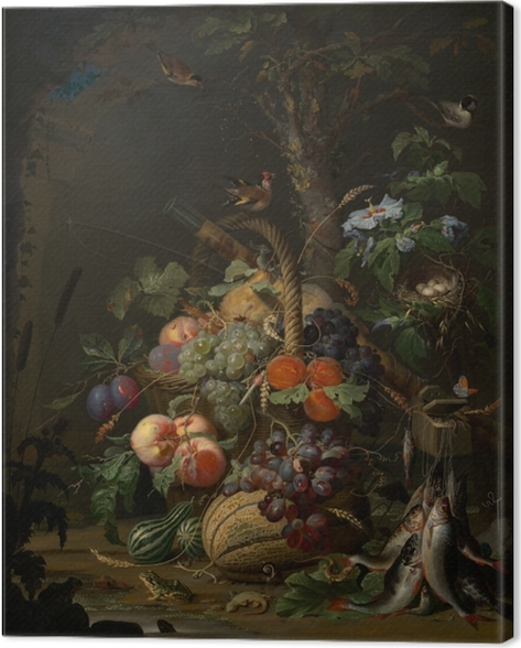 Leinwandbild Abraham Mignon - Still Life with Fruit, Fish and a Nest - Abraham Mignon