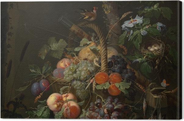 Leinwandbild Abraham Mignon - Still Life with Fruit, Fish and a Nest - Abraham Mignon