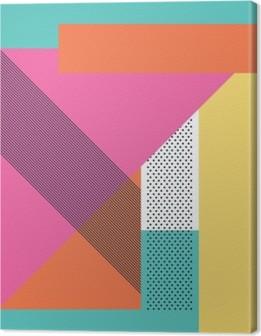 Leinwandbild Abstract retro 80er Jahre Hintergrund mit geometrischen Formen und Muster. Material Design Tapeten.