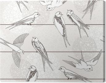 Leinwandbild Abstrakt nahtlose Muster. Vogel auf den Drähten.