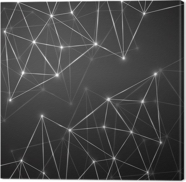 Leinwandbild Abstrakte Geometrische Hintergrund Mit Verbindungs Punkte Und  Linien. Moderne Technologie Konzept