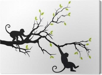 Leinwandbild Affen auf Baum, Vektor