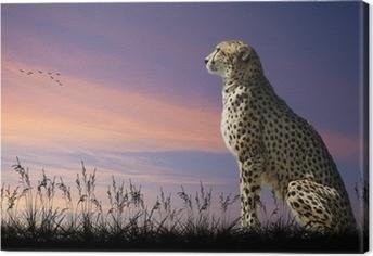 Leinwandbild African Safari Konzept Bild des Geparden mit Blick auf savannn