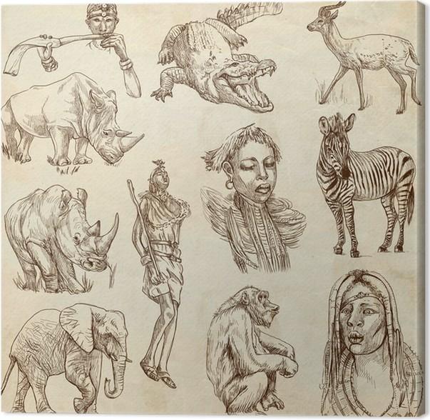 Leinwandbild AFRIKA   Sammlung Von Einer Hand Gezeichnete Illustrationen  Auf Altem Papier