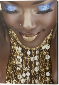 Leinwandbild Afrikanische Frau mit Gold