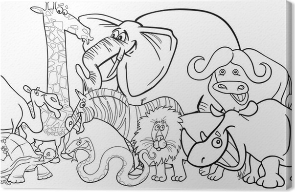 Leinwandbild Afrikanische Safari-Tiere-Cartoon für Färbung • Pixers ...