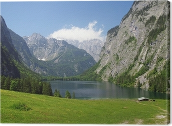 Leinwandbild Alpenpanorama mit Bergsee am Watzmann