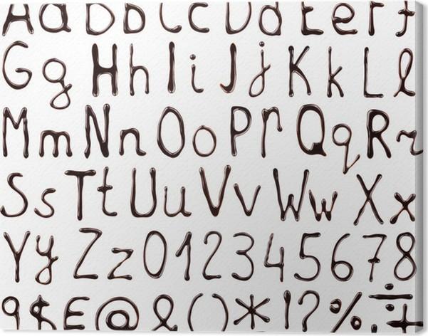 Leinwandbild Alphabet Buchstaben Zahlen Und Symbole Mit Schokolade