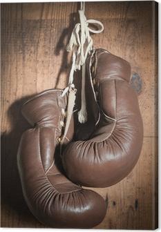 Leinwandbild Alte Boxhandschuhe, hängen Holzwand