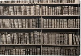 Leinwandbild Alte Bücher in einer Bibliothek - Sepia Bild