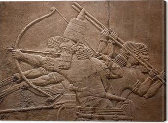 Leinwandbild Alte Relief assyrian Krieger kämpfen im Krieg